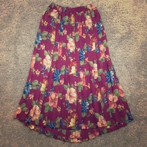 Midi length pleated floral skirt